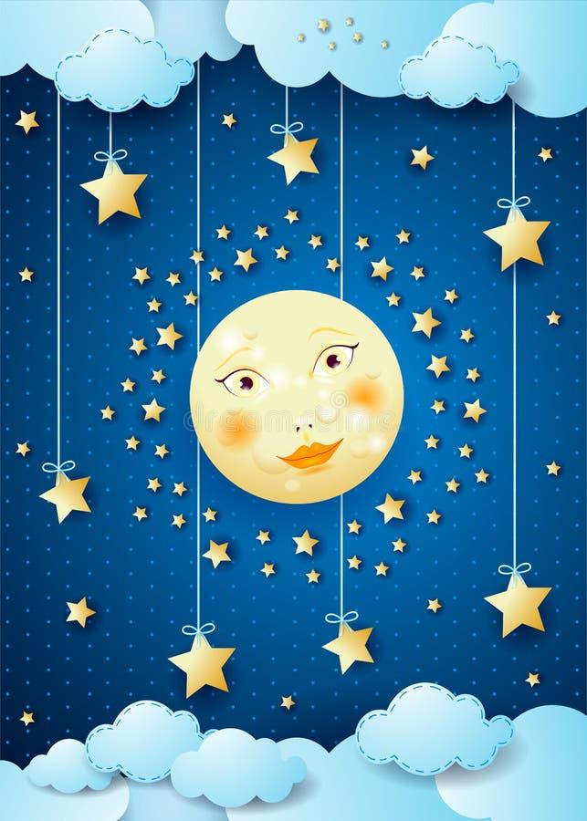 Surreal nacht met volle maan en hangende sterren royalty-vrije illustratie