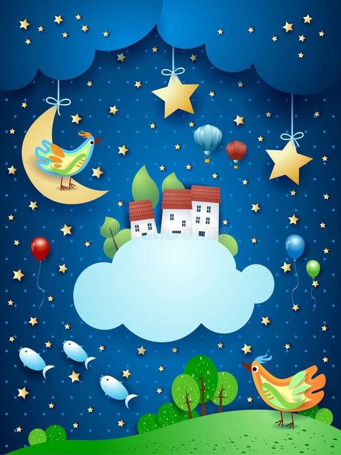 Surreal nacht met weinig stad over de wolken en de vliegende vissen royalty-vrije illustratie
