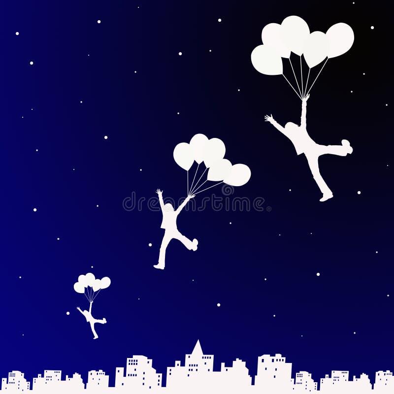 Surreal nachtvlucht royalty-vrije illustratie