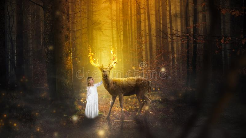 Fantasy Nature Landcape, Girl, Deer, Buck. Surreal nature fantasy landscape scene with a young girl and a wildlife deer buck. The antlers have flames and fire