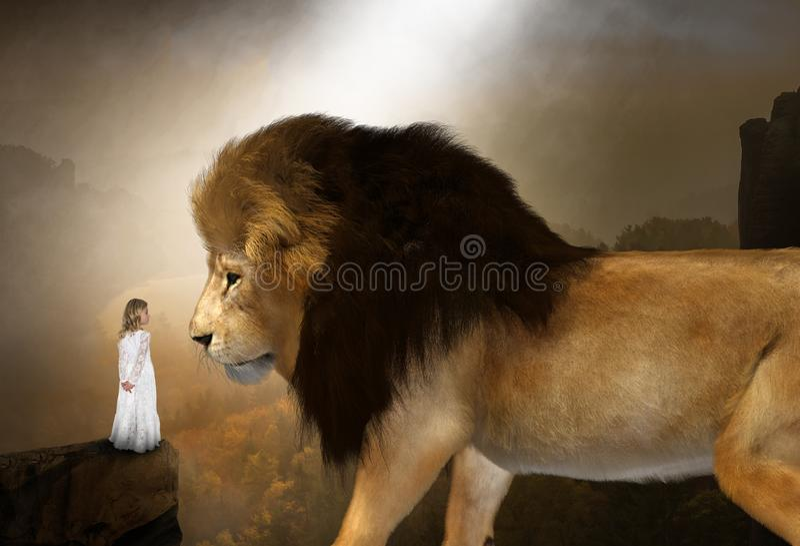 Surreal Nature, Lion, Girl, Fantasy stock photo