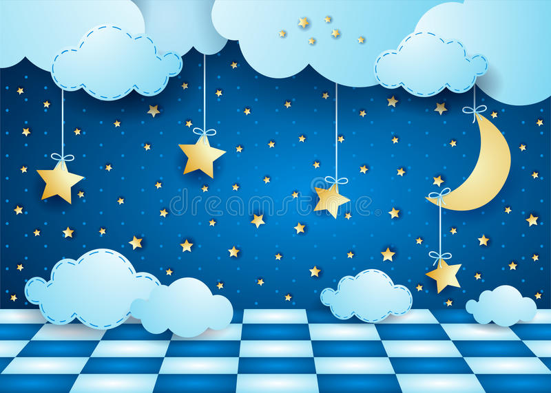 Surreal night with hanging moon, clouds and floor. Vector illustration eps10 stock illustration