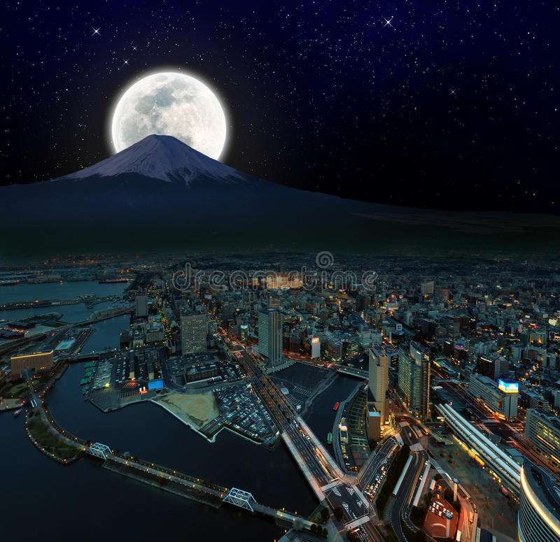 Surreal night view of Yokohama royalty free stock photography
