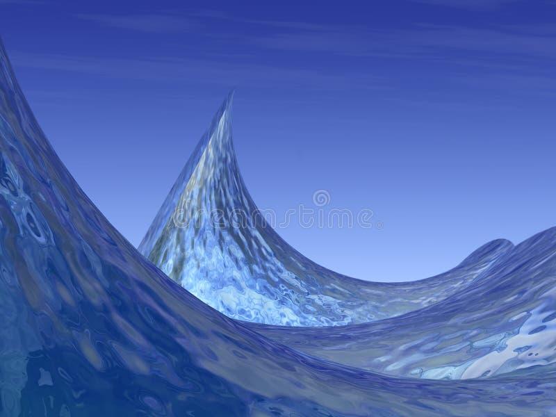 Surreal OceaanGolven en CREST royalty-vrije illustratie