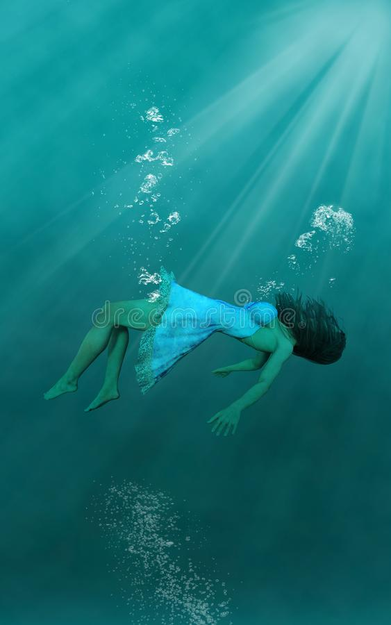 Surreal Onderwatervrouw, Behangachtergrond vector illustratie