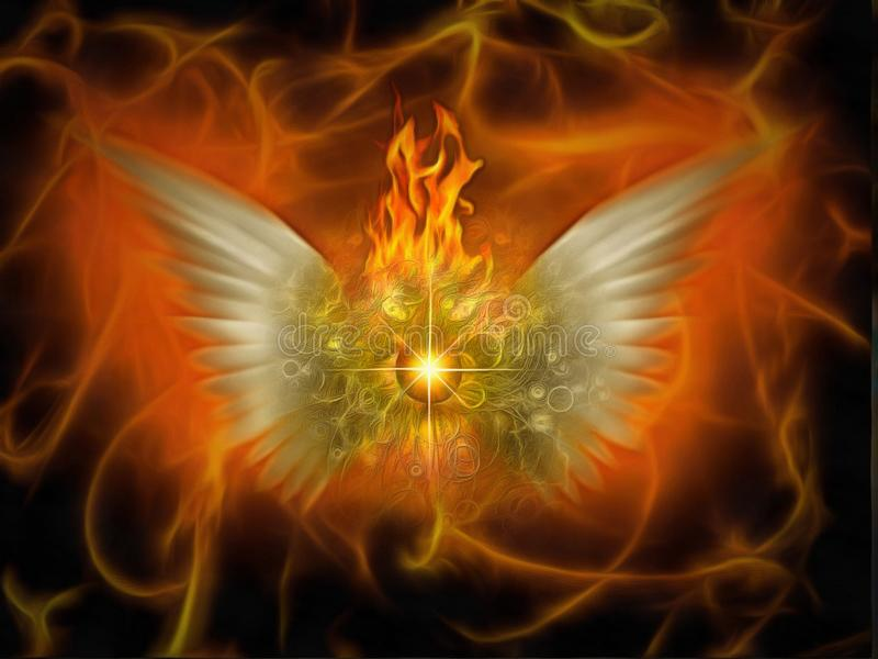 Flaming God. Surreal painting. Burning eye with wings. Flaming background stock image