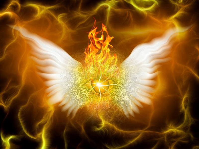 Flaming God. Surreal painting. Burning eye with wings. Flaming background. Human elements were created with 3D software and are not from any actual human vector illustration