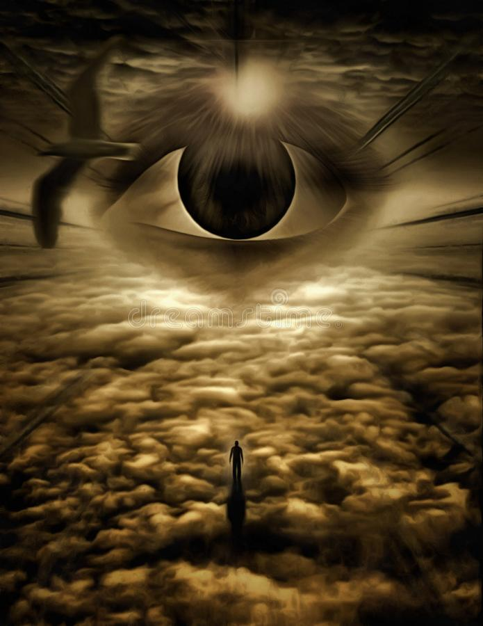 Ascend. Surreal painting. Giant eye in cloudy sky. Thunderbird. Figure of man in a distance. Human elements were created with 3D software and are not from any royalty free illustration