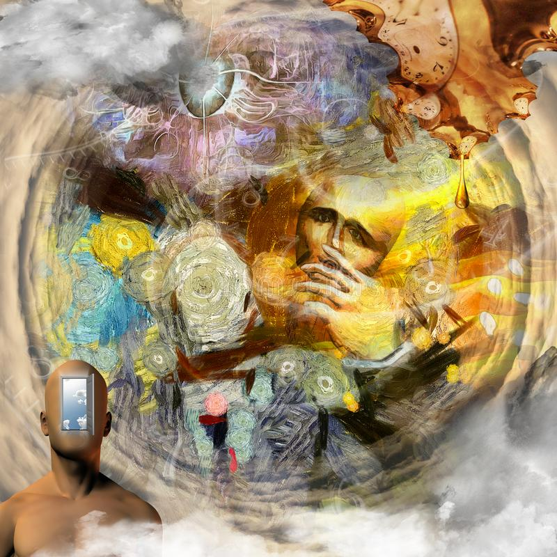 Behind the Mask. Surreal painting. Man without face with mask in his hand. Naked man`s torso with opened door instead of his face. Melted clock in Dali style stock illustration