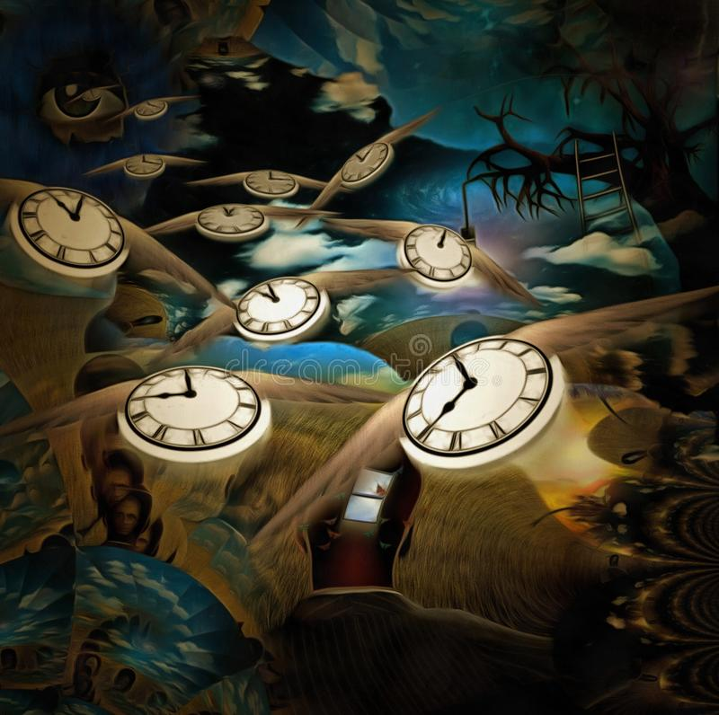 Flow of time. Surreal painting. Man with opened window in his head. Old tree with light bulb on a branch. God`s Eye in the sky. Winged clocks represents flow of vector illustration