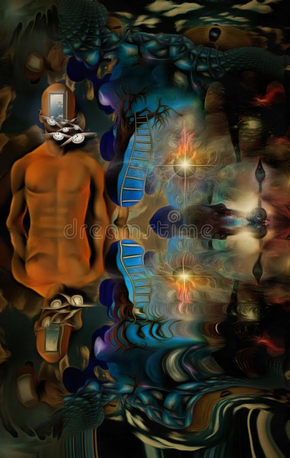 Flow of time. Surreal painting. Naked man with open door instead of face. Lightbulb on a tree branch. Winged clock represents flow of time. Human elements were vector illustration