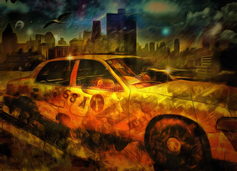 Yellow Cab. Surreal painting. New York taxi or Yellow Cab vector illustration