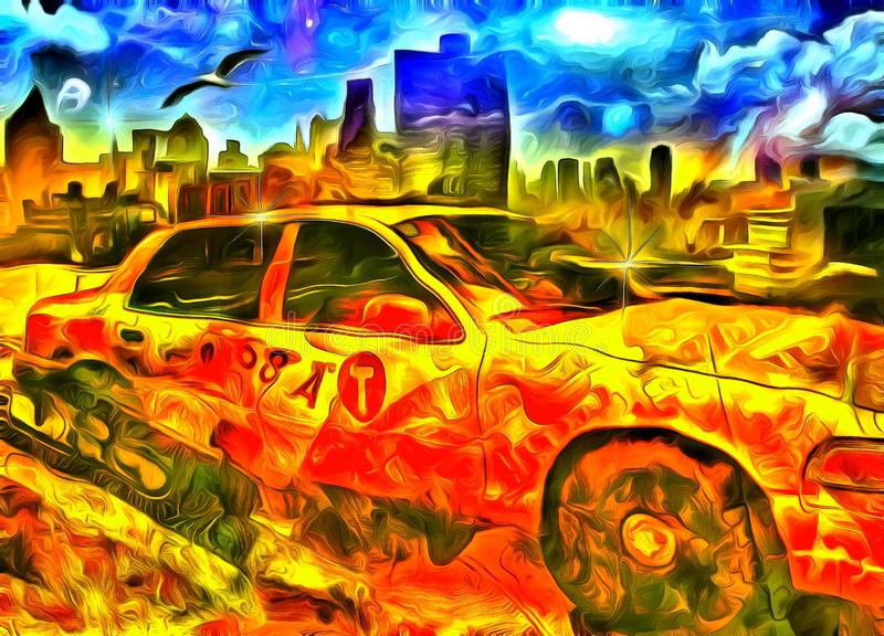 Yellow Cab. Surreal painting. New York Yellow Cab Taxi stock illustration