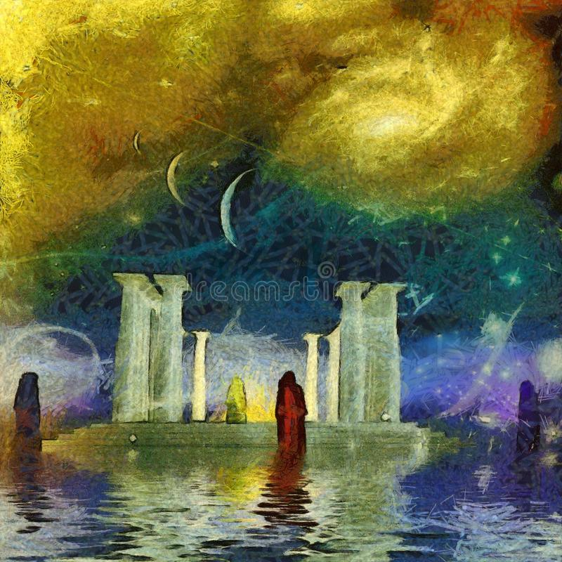 White temple. Surreal painting. White temple on water surface. Monks around him. Parade of planets and galaxy in the sky royalty free illustration