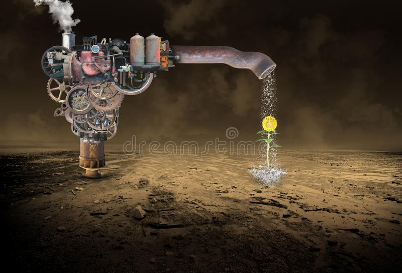 Surreal Rain Making Machine, Water, Flower, Steampunk. A surreal rain making machine is making rain for a flower in a desolate desert. The industrial steampunk stock images