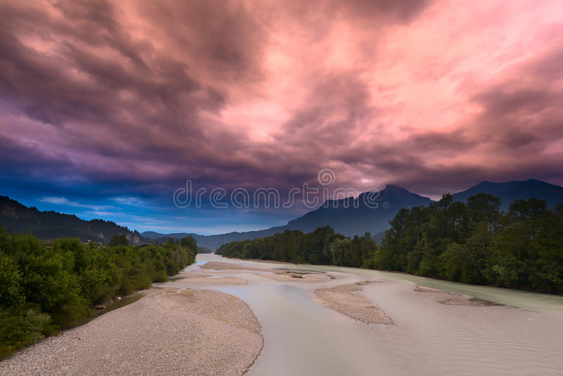 Download Surreal Red Sky Before Storm At River Stock Image - Image: 38209459