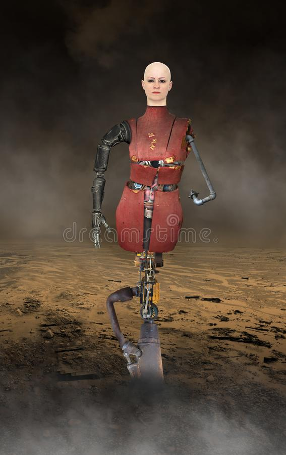 Surreal Robot Technology Machine Woman stock images