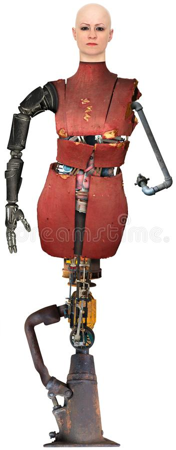 Surreal Robot Technology Woman Isolated. A surreal science fiction robot woman. The female is built from retro technology machine parts. The mechanical Halloween royalty free stock photography