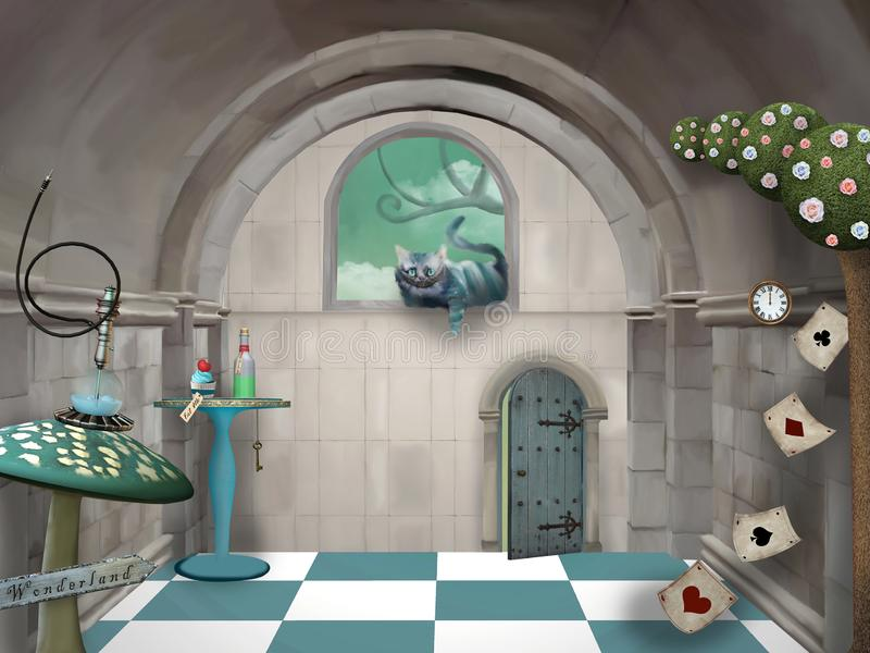 Wonderland series - surreal room with a Cheshire cat and a table. Surreal room in wonderland with a Cheshire cat and a table vector illustration
