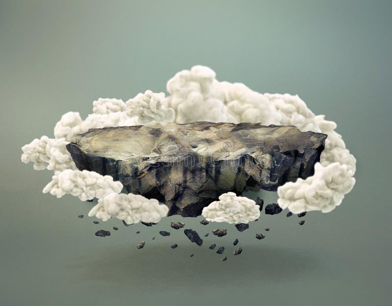Surreal rotsachtig die eiland door wolken wordt omringd stock illustratie
