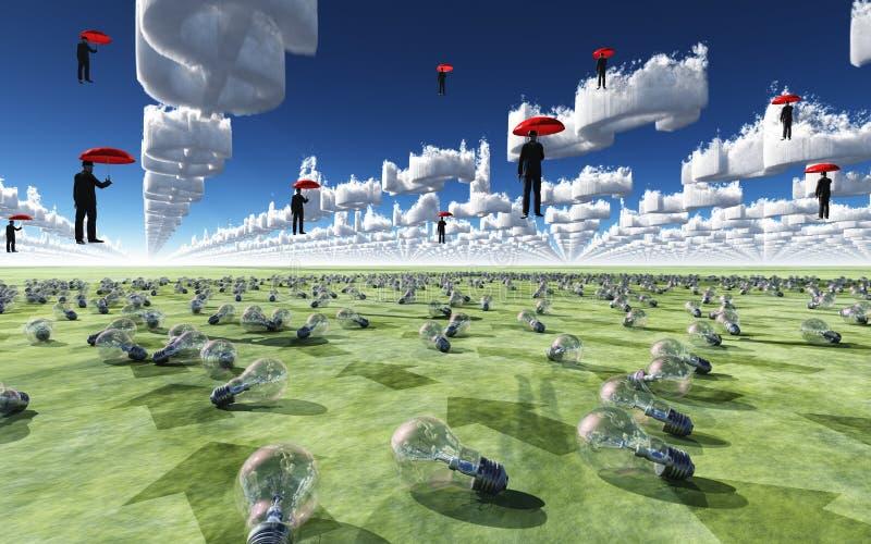 Surreal Scène met mensen die in hemel drijven royalty-vrije illustratie