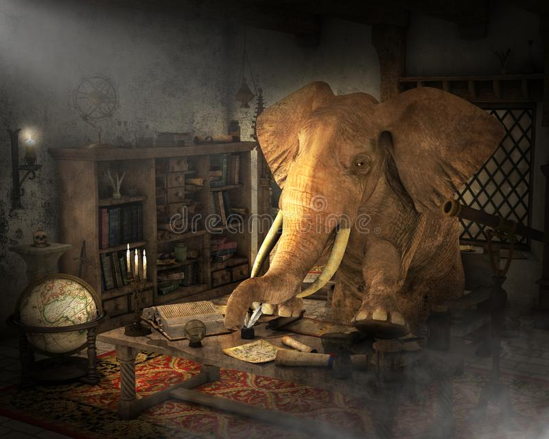 Alchemist Elephant, Medieval Science, Study. Surreal scene of an alchemist elephant practicing medieval science. The animal is in his study going through books stock image