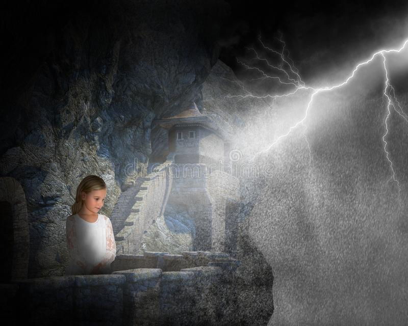 Rain Storm, Castle, Mountain, Girl, Lightning. Surreal scene of a young girl on the side of a mountain in a stone castle. A raging rain storm and lightning from stock photos