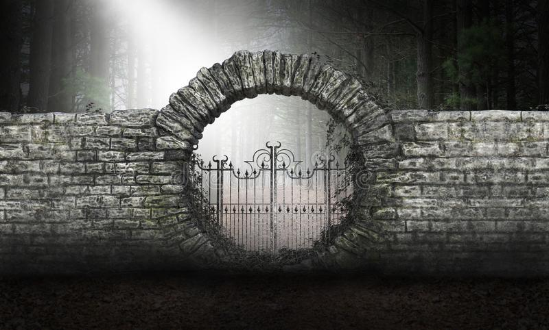 Surreal Science Fiction Gate Background. Surreal science fiction background. An old stone gate with a light from above stands in a deep, dark, mysterious forest royalty free stock image