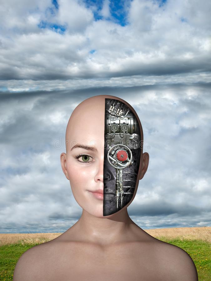 Surreal Science Fiction Robot Woman stock illustration