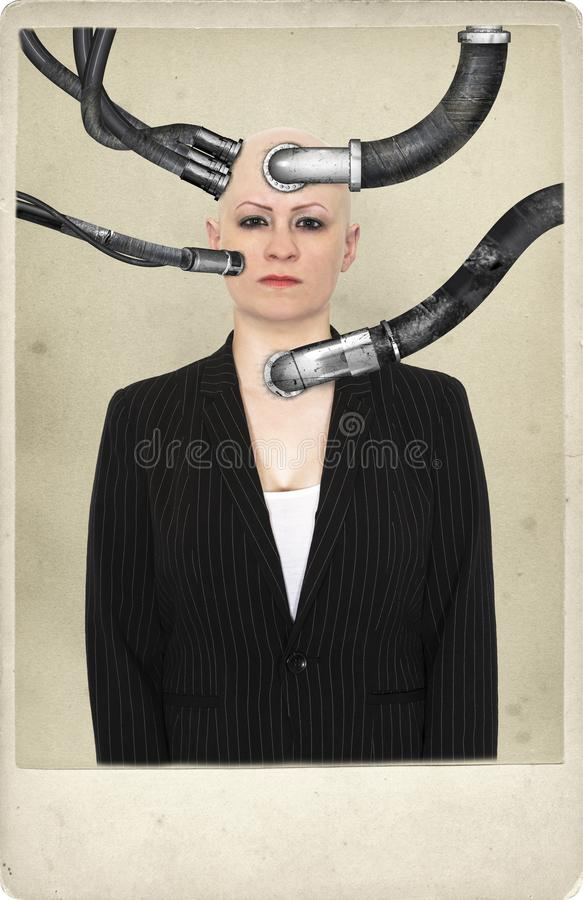 Surreal Science Fiction Woman Portrait stock photos