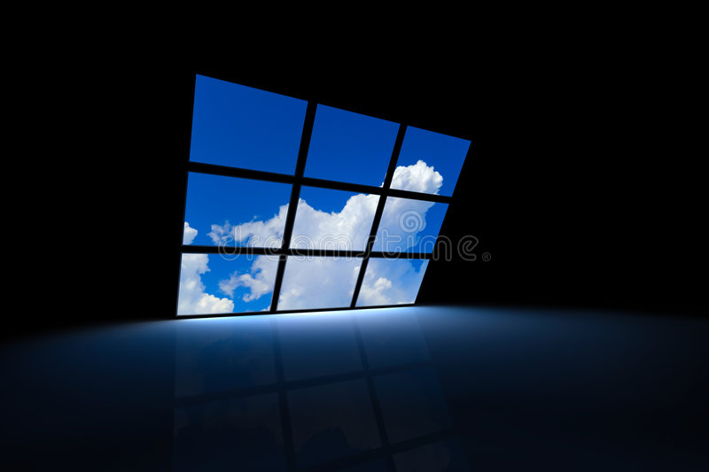 Surreal screens. Dark room with screens showing a blue sky vector illustration