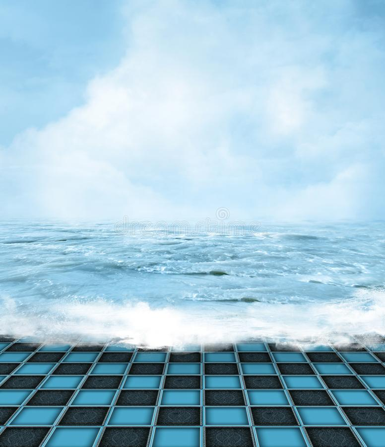 Surreal sea landscape with foamy waves. Surreal sunny seascape with a tiled floor and crashing waves – 3D illustration stock illustration