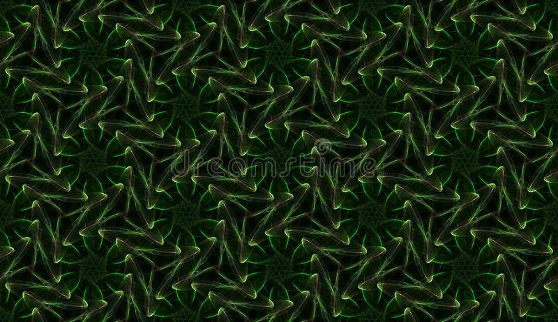 Surreal seamless green pattern on black background. Abstract ornament of repeating glowing elements. royalty free illustration