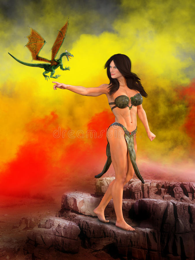 Surreal Fantasy Woman, Dragon. A surreal landscape illustration and a fantasy woman. A flying dragon is friends with the beautiful woman vector illustration