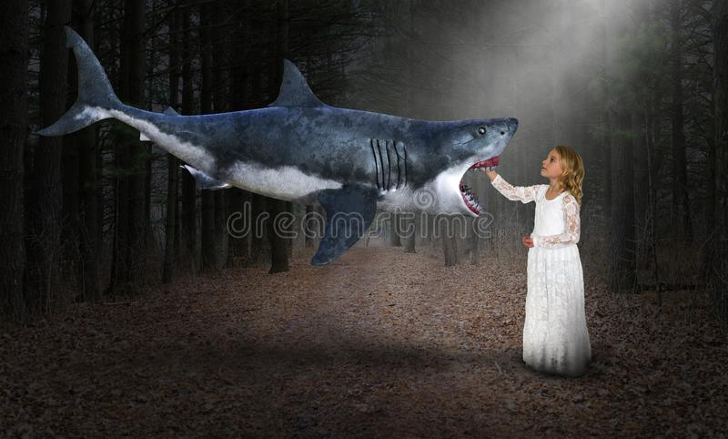 Surreal Shark, Wood, Nature, Girl. Weird, strange and different abstract concept. A great white shark is flying through a surreal woods or forest and meeting stock photography