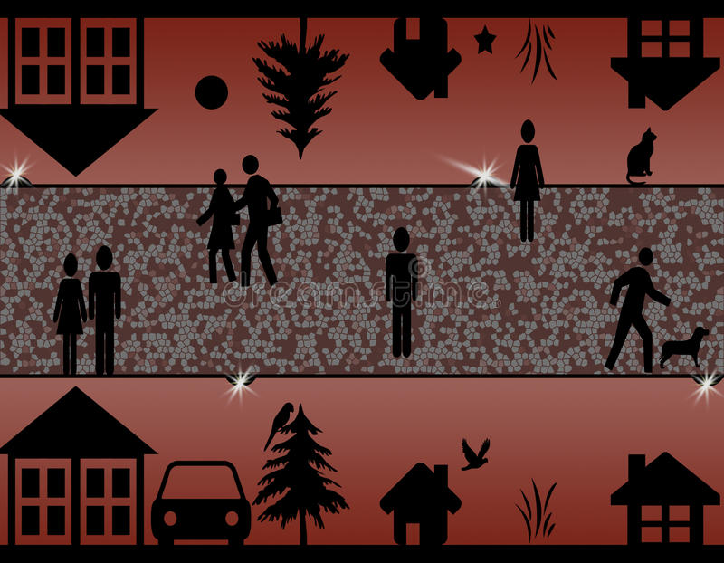 Surreal silhouettenillustratie van een stad bij nacht stock afbeelding