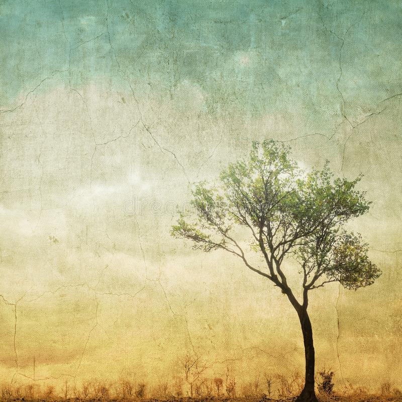 Surreal single tree on cloudy sky with copy space. Surreal single tree on cloudy sky royalty free illustration