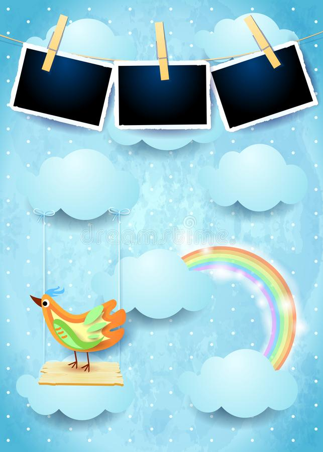 Download Surreal Sky With Swing, Bird And Photo Frames Stock Vector    Illustration Of Frame