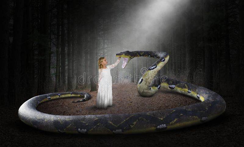 Surreal Snake, Nature, Woods, Girl. Surreal snake and young girl. The child is petting the serpent. Abstract concept for peace, hope, love, nature, danger, and stock photography