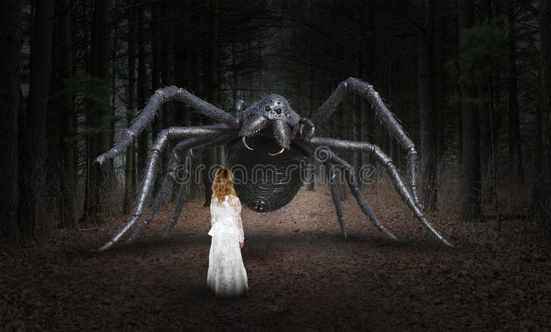 Surreal Spider, Young Girl, Monster. Surreal monster spider and a young pretty girl meet in a dark forest or woods stock photo