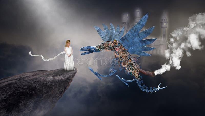 Surreal Steampunk Dragon, Imagination, Fantasy, Young Girl. A young girl uses her imagination to play and have fun with a fantasy steampunk dragon. The child vector illustration