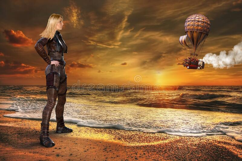 Surreal Steampunk Fantasy, Balloon, Landscape immagine stock