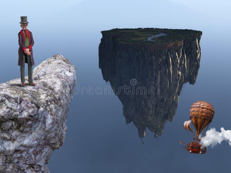Surreal Steampunk Man, Floating Island stock illustration