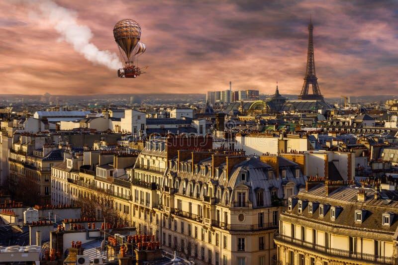 Surreal Stempunk Paris, Hot Air Balloon stock photo