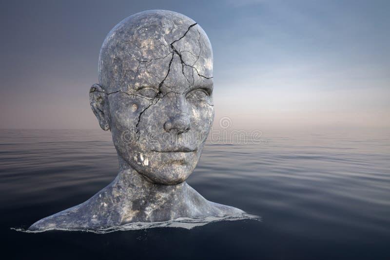 Surreal Stone Head, Ocean, Sea, Statue stockfoto