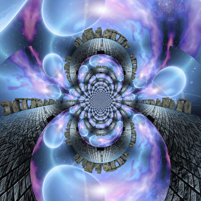 Surreal Stonehenge. Digital art, fractal royalty free illustration