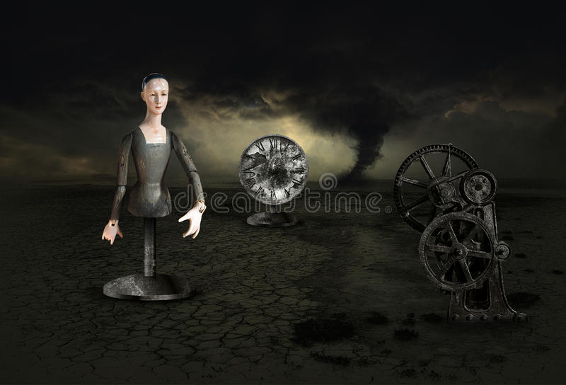 Surreal Surrealism Nightmare Dream Storm. Surrealism image with a clock, tornado storm and clouds, a strange wooden woman, and a machine part, The surreal scene royalty free illustration