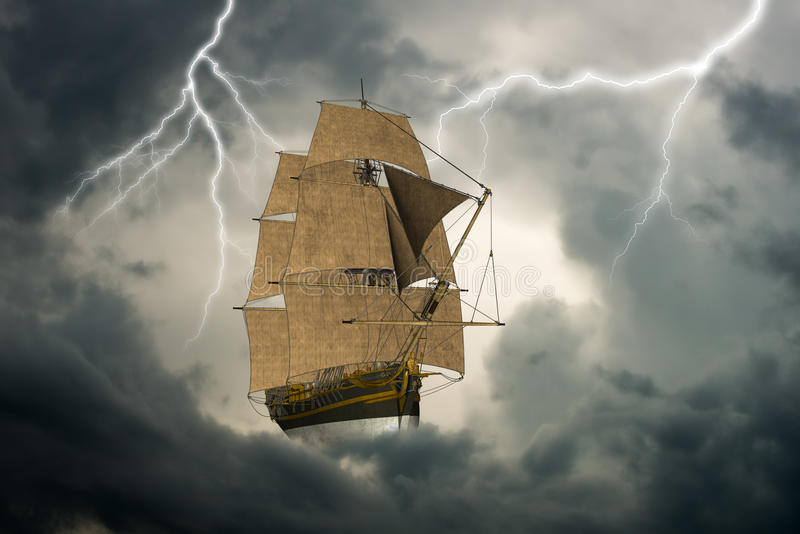Surreal Tall Sailing Ship, Clouds. Surreal tall sailing ship as it sails and floats in an ocean of clouds in the sky royalty free stock photos