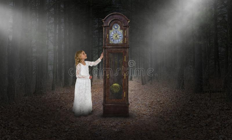 Surreal Time, Grandfather Clock, Girl. A young girl looks at a surreal grandfather clock in the woods or forest. Abstract concept for time, the unknown, and stock images