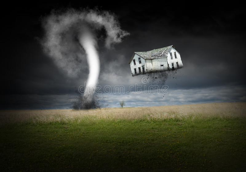 Surreal Tornado, Weather, Rain Storm. Surreal tornado rain storm. A rural farmhouse is thrown into the air and sky. The house is about to be destroyed in a royalty free stock photography